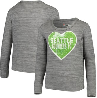 New Era Girls Youth 5th & Ocean by Heathered Gray Seattle Sounders FC Flip Sequin Pullover Sweatshirt