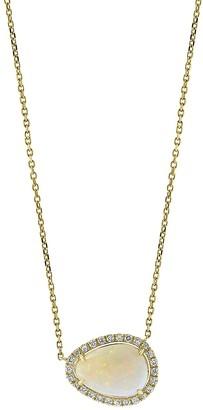 Effy 14K Yellow Gold, Opal Diamond Egg Pendant Necklace