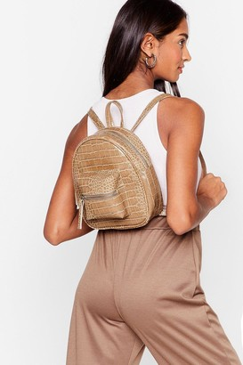 Nasty Gal Womens WANT Croc On Baby Faux Leather Backpack - Beige - ONE SIZE, Beige