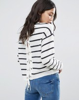 Brave Soul Stripe Lace Up Back Sweater