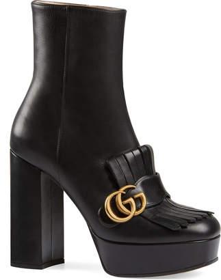 Gucci Marmont Kiltie Platform Booties