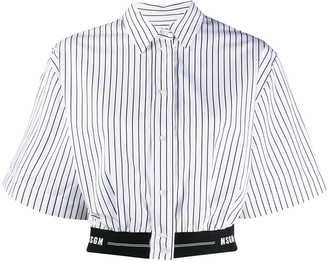 MSGM Elastic-Hem Striped Crop Shirt