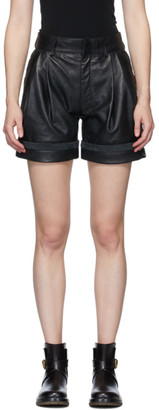 Chloé Black Textured Leather Shorts