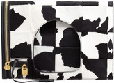 Tom Ford Alix Calf Hair Padlock & Zip Shoulder Bag, Black/White