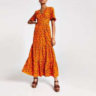 River Island Womens Orange star print button front maxi dress