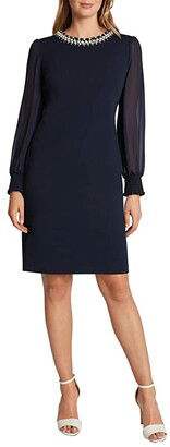 Tahari ASL Stretch Scuba Crepe Sheath with Pearl Necklace Detail (Navy) Women's Dress