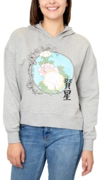 Rebellious One Juniors' Floral Graphic Hoodie Sweatshirt