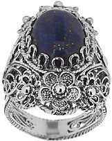 Lapis Artisan Crafted Sterling Ornate Design Flower Ring