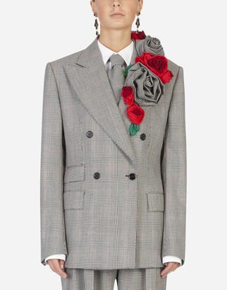 Dolce & Gabbana Glen Plaid Blazer With Rose Appliques