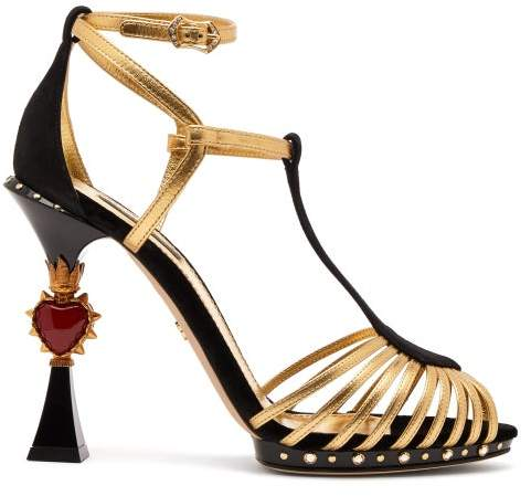 Dolce & Gabbana Heart Plaque Leather And Suede Sandals - Womens - Black Gold