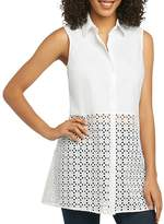 Foxcroft Eyelet Tunic Top
