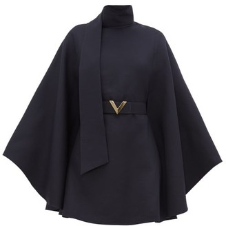 Valentino Belted Cape-sleeve Wool-blend Mini Dress - Womens - Navy