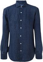 Barba slim-fit shirt - men - Linen/Flax - 42