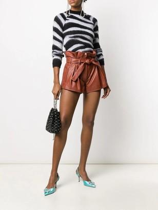 ATTICO Cognac Leather Shorts