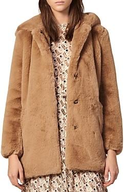 Sandro Honey Faux-Fur Coat