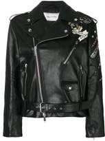 Valentino Women's Black Leather Outerwear Jacket.