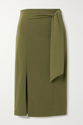 Alice + Olivia Riva Belted Ponte Midi Skirt - Army green