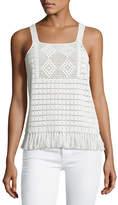 Joie Zaylee Crochet Sleeveless Fringe-Hem Top, White