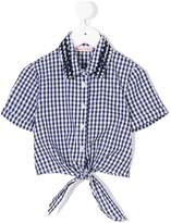 Miss Blumarine gingham tied shirt