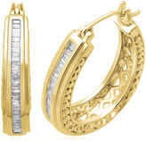 JCPenney FINE JEWELRY 1/2 CT. T.W. Diamond 14K Yellow Gold Over Sterling Silver 26.3mm Hoop Earrings
