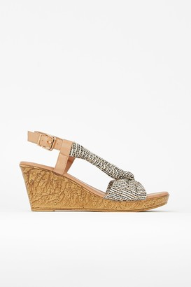 Wallis Camel Slingback Knotted Wedge