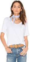 Bobi Light Weight Jersey V Neck Pocket Tee in White. - size M (also in S,XS)