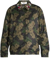 Muveil Embellished-collar camouflage-print sateen jacket