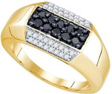 Diamond & CO 10kt Yellow Gold Mens Round Colored Diamond Cluster Fashion Band Ring 3/4 Cttw
