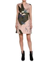 Piazza Sempione Sleeveless Jacquard Shift Dress, Pink/Olive