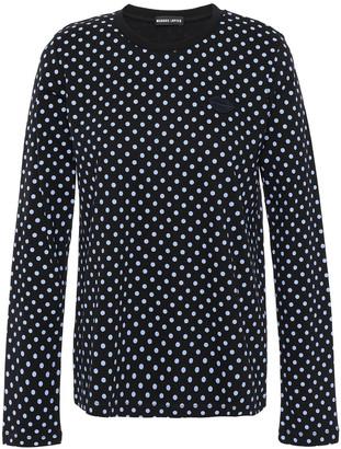 Markus Lupfer Sophie Appliqued Polka-dot Cotton-jersey Top