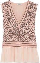 GANNI - Fluted Sequin-embellished Tulle Top - Blush