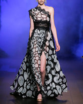 Naeem Khan One-Shoulder Printed Organza Evening Gown with Lace Trim