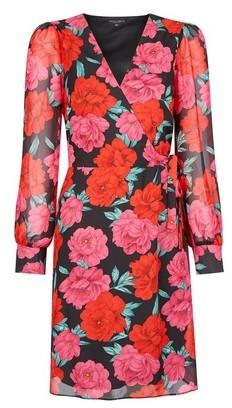 Dorothy Perkins Womens Multi Colour Floral Print Wrap Mini Dress