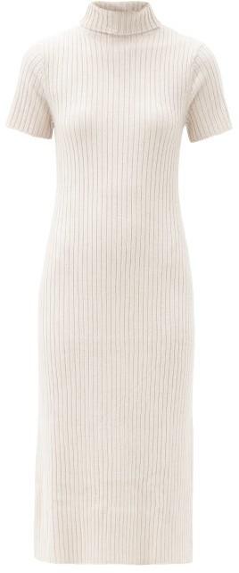 STAUD Lilou Roll-neck Ribbed Wool-blend Sweater Dress - Beige
