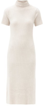 STAUD Lilou Roll-neck Ribbed Wool-blend Sweater Dress - Beige