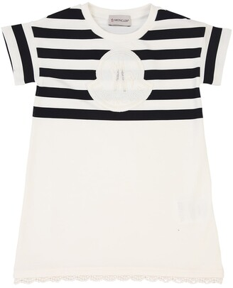 Moncler Striped Cotton Jersey Dress W/logo Patch