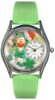 Whimsical Watches Women's S1224003 St. Patrick's Day with Irish Flag Light Green Leather Watch