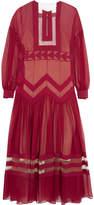 Fendi Tulle-paneled Silk-georgette Midi Dress - Red
