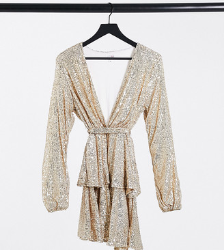 John Zack Petite sequin plunge front skater dress in gold
