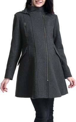 Kimi and Kai Cordella Wool Blend Hooded Maternity Coat