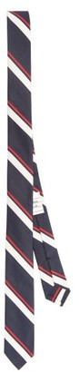Thom Browne Tricolour-striped Silk-twill Tie - Navy Multi