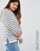 Asos Sweater in Stripe with Oval Tan Elbow Patch
