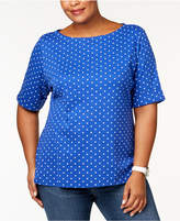 Karen Scott Plus Size Cotton Polka Dot Elbow-Sleeve T-Shirt, Created for Macy's
