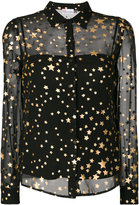 RED Valentino layered sheer gold foil star shirt - women - Silk/Polyester/Wool - 40