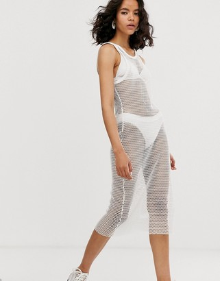 Weekday netted dress in white-Cream