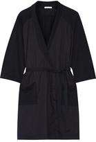 Skin - Emily Cotton Poplin-paneled Slub Cotton-jersey Robe - Storm blue