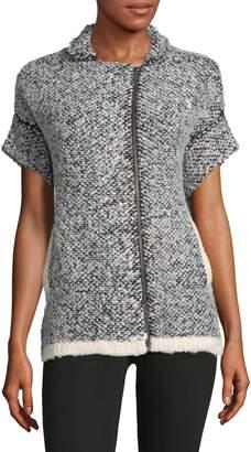 Leo & Sage Textured Full Zip Sweater Jacket