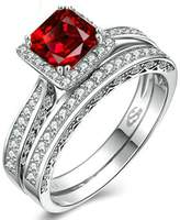 Epinki 925 Sterling Silver Women Ring Square Solitaire Ring With Cubic Zirconia Size 6
