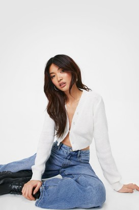Nasty Gal Womens Pearl Up With Me Cropped Knit Cardigan - Cream