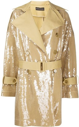 David Koma Sequined Belted Trench Coat